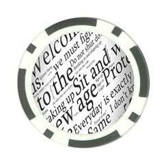 Abstract Minimalistic Text Typography Grayscale Focused Into Newspaper Poker Chip Card Guard