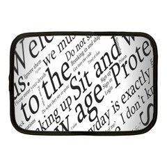 Abstract Minimalistic Text Typography Grayscale Focused Into Newspaper Netbook Case (medium)