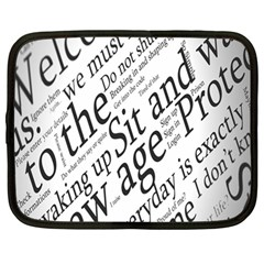 Abstract Minimalistic Text Typography Grayscale Focused Into Newspaper Netbook Case (large)
