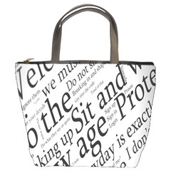 Abstract Minimalistic Text Typography Grayscale Focused Into Newspaper Bucket Bags