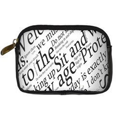 Abstract Minimalistic Text Typography Grayscale Focused Into Newspaper Digital Camera Cases