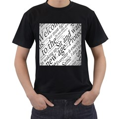 Abstract Minimalistic Text Typography Grayscale Focused Into Newspaper Men s T Shirt (black)