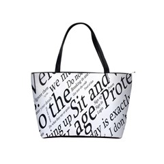 Abstract Minimalistic Text Typography Grayscale Focused Into Newspaper Shoulder Handbags