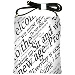 Abstract Minimalistic Text Typography Grayscale Focused Into Newspaper Shoulder Sling Bags Front