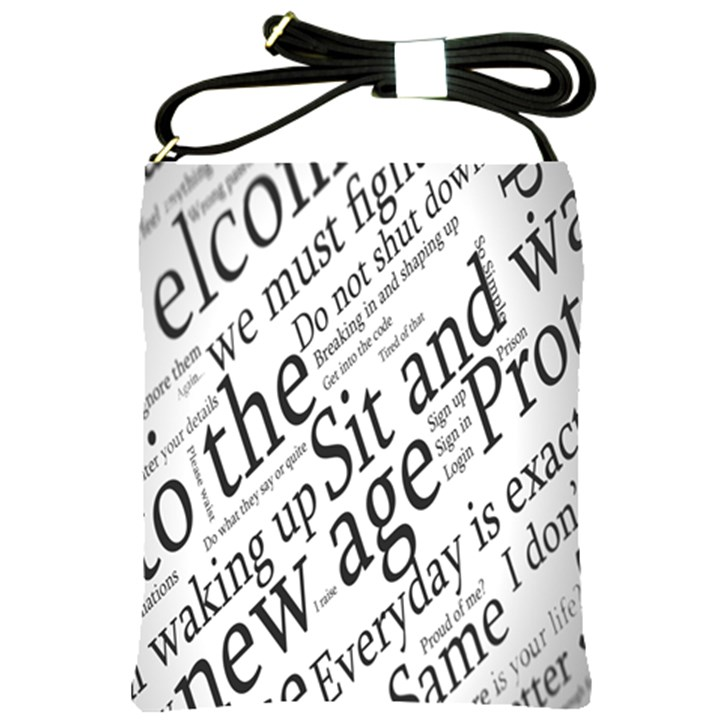 Abstract Minimalistic Text Typography Grayscale Focused Into Newspaper Shoulder Sling Bags