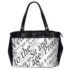 Abstract Minimalistic Text Typography Grayscale Focused Into Newspaper Office Handbags (2 Sides)