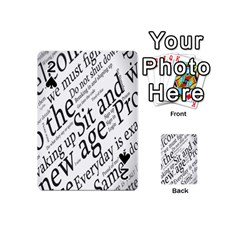 Abstract Minimalistic Text Typography Grayscale Focused Into Newspaper Playing Cards 54 (mini)