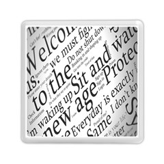 Abstract Minimalistic Text Typography Grayscale Focused Into Newspaper Memory Card Reader (square)