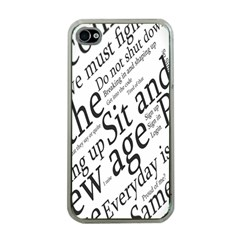 Abstract Minimalistic Text Typography Grayscale Focused Into Newspaper Apple iPhone 4 Case (Clear)