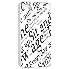 Abstract Minimalistic Text Typography Grayscale Focused Into Newspaper Apple Iphone 4/4s Seamless Case (white)