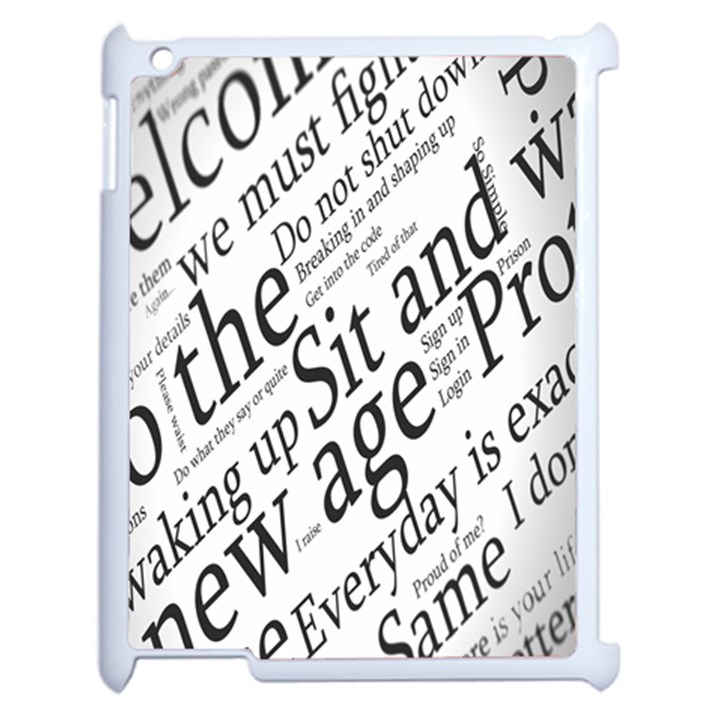 Abstract Minimalistic Text Typography Grayscale Focused Into Newspaper Apple iPad 2 Case (White)
