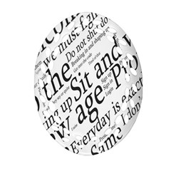 Abstract Minimalistic Text Typography Grayscale Focused Into Newspaper Ornament (Oval Filigree)