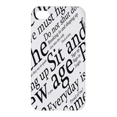 Abstract Minimalistic Text Typography Grayscale Focused Into Newspaper Apple iPhone 4/4S Premium Hardshell Case