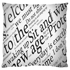 Abstract Minimalistic Text Typography Grayscale Focused Into Newspaper Large Cushion Case (two Sides)