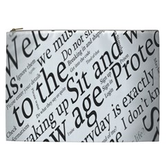 Abstract Minimalistic Text Typography Grayscale Focused Into Newspaper Cosmetic Bag (XXL)