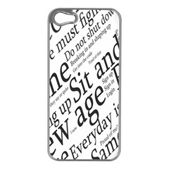 Abstract Minimalistic Text Typography Grayscale Focused Into Newspaper Apple iPhone 5 Case (Silver)