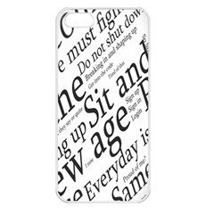 Abstract Minimalistic Text Typography Grayscale Focused Into Newspaper Apple iPhone 5 Seamless Case (White)