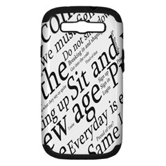 Abstract Minimalistic Text Typography Grayscale Focused Into Newspaper Samsung Galaxy S III Hardshell Case (PC+Silicone)