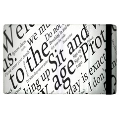 Abstract Minimalistic Text Typography Grayscale Focused Into Newspaper Apple Ipad 2 Flip Case
