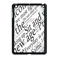Abstract Minimalistic Text Typography Grayscale Focused Into Newspaper Apple iPad Mini Case (Black)