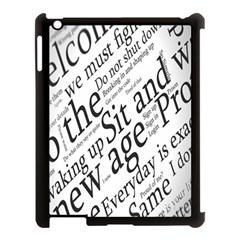 Abstract Minimalistic Text Typography Grayscale Focused Into Newspaper Apple iPad 3/4 Case (Black)