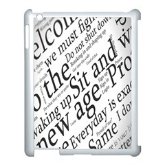 Abstract Minimalistic Text Typography Grayscale Focused Into Newspaper Apple iPad 3/4 Case (White)