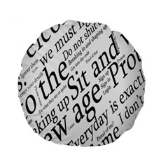 Abstract Minimalistic Text Typography Grayscale Focused Into Newspaper Standard 15  Premium Round Cushions