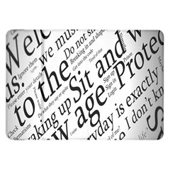 Abstract Minimalistic Text Typography Grayscale Focused Into Newspaper Samsung Galaxy Tab 8.9  P7300 Flip Case