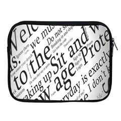 Abstract Minimalistic Text Typography Grayscale Focused Into Newspaper Apple iPad 2/3/4 Zipper Cases