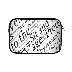 Abstract Minimalistic Text Typography Grayscale Focused Into Newspaper Apple iPad Mini Zipper Cases