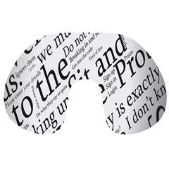 Abstract Minimalistic Text Typography Grayscale Focused Into Newspaper Travel Neck Pillows