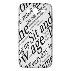 Abstract Minimalistic Text Typography Grayscale Focused Into Newspaper Samsung Galaxy Mega 5.8 I9152 Hardshell Case