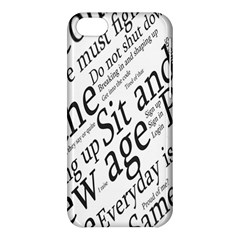 Abstract Minimalistic Text Typography Grayscale Focused Into Newspaper Apple iPhone 5C Hardshell Case