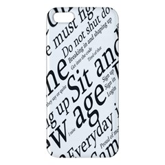 Abstract Minimalistic Text Typography Grayscale Focused Into Newspaper iPhone 5S/ SE Premium Hardshell Case