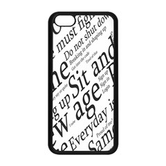 Abstract Minimalistic Text Typography Grayscale Focused Into Newspaper Apple iPhone 5C Seamless Case (Black)