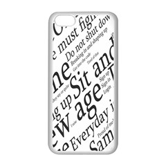 Abstract Minimalistic Text Typography Grayscale Focused Into Newspaper Apple iPhone 5C Seamless Case (White)