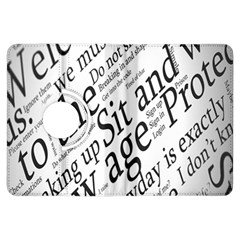 Abstract Minimalistic Text Typography Grayscale Focused Into Newspaper Kindle Fire Hdx Flip 360 Case
