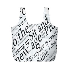 Abstract Minimalistic Text Typography Grayscale Focused Into Newspaper Full Print Recycle Bags (M)