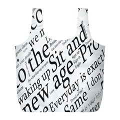 Abstract Minimalistic Text Typography Grayscale Focused Into Newspaper Full Print Recycle Bags (L)