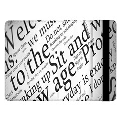 Abstract Minimalistic Text Typography Grayscale Focused Into Newspaper Samsung Galaxy Tab Pro 12.2  Flip Case