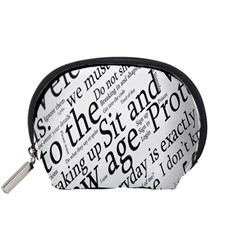 Abstract Minimalistic Text Typography Grayscale Focused Into Newspaper Accessory Pouches (Small)