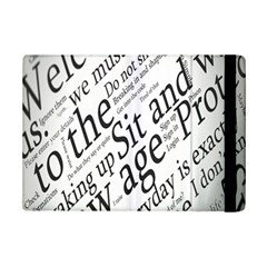 Abstract Minimalistic Text Typography Grayscale Focused Into Newspaper iPad Mini 2 Flip Cases