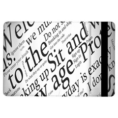 Abstract Minimalistic Text Typography Grayscale Focused Into Newspaper iPad Air Flip