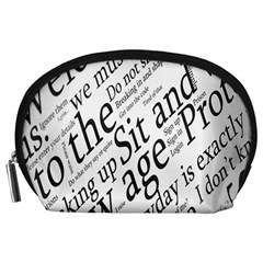 Abstract Minimalistic Text Typography Grayscale Focused Into Newspaper Accessory Pouches (Large)