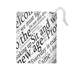 Abstract Minimalistic Text Typography Grayscale Focused Into Newspaper Drawstring Pouches (large)