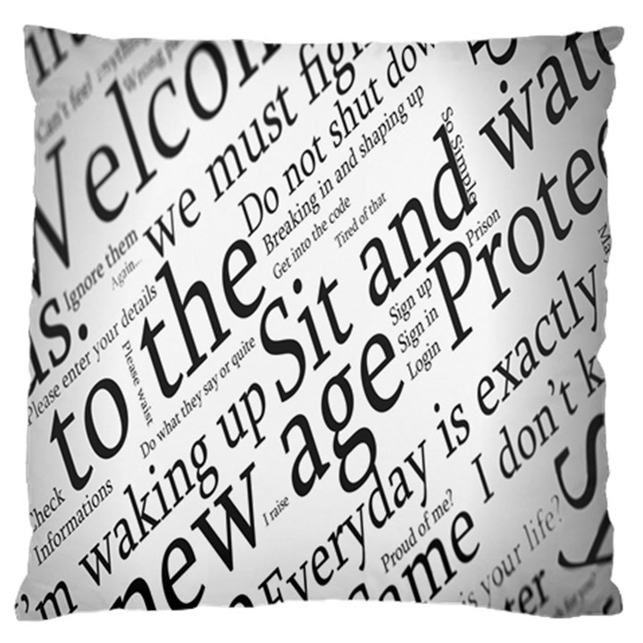 Abstract Minimalistic Text Typography Grayscale Focused Into Newspaper Large Flano Cushion Case (Two Sides)