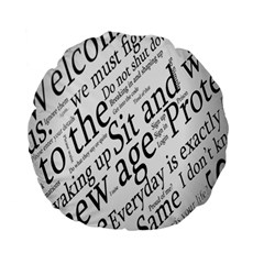 Abstract Minimalistic Text Typography Grayscale Focused Into Newspaper Standard 15  Premium Flano Round Cushions
