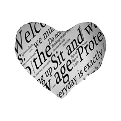 Abstract Minimalistic Text Typography Grayscale Focused Into Newspaper Standard 16  Premium Flano Heart Shape Cushions