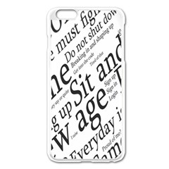 Abstract Minimalistic Text Typography Grayscale Focused Into Newspaper Apple iPhone 6 Plus/6S Plus Enamel White Case