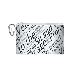 Abstract Minimalistic Text Typography Grayscale Focused Into Newspaper Canvas Cosmetic Bag (S)